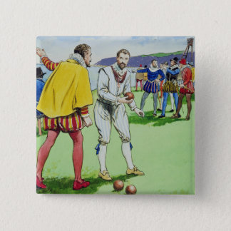 Sir Francis Drake (1540/3-96) playing bowls, from 15 Cm Square Badge