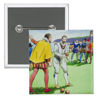 Sir Francis Drake (1540/3-96) playing bowls, from 15 Cm Square Badge