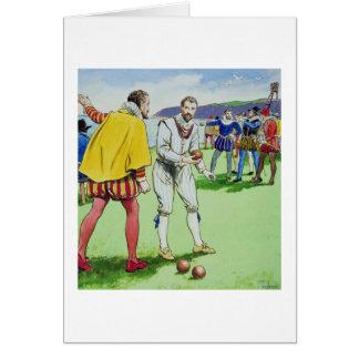 Sir Francis Drake (1540/3-96) playing bowls, from Card