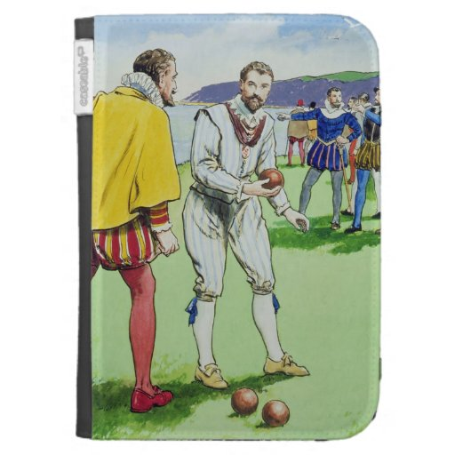 Sir Francis Drake (1540/3-96) playing bowls, from Case For Kindle