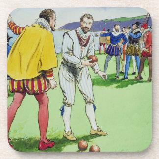 Sir Francis Drake (1540/3-96) playing bowls, from Coaster