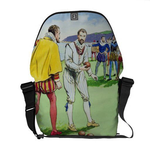Sir Francis Drake (1540/3-96) playing bowls, from Messenger Bags