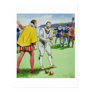 Sir Francis Drake (1540/3-96) playing bowls, from Postcard