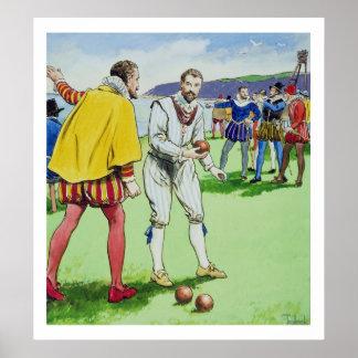 Sir Francis Drake (1540/3-96) playing bowls, from Poster