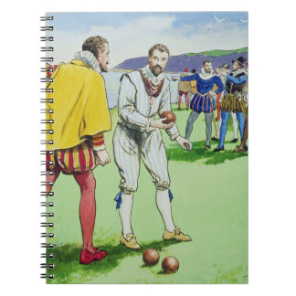 Sir Francis Drake (1540/3-96) playing bowls, from Spiral Note Books