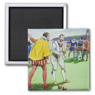 Sir Francis Drake (1540/3-96) playing bowls, from Square Magnet