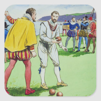 Sir Francis Drake (1540/3-96) playing bowls, from Square Sticker