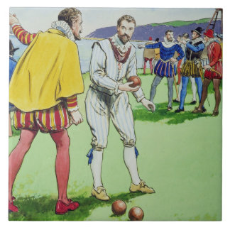 Sir Francis Drake (1540/3-96) playing bowls, from Large Square Tile