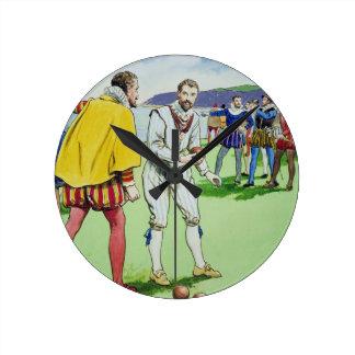 Sir Francis Drake (1540/3-96) playing bowls, from Wallclocks
