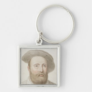 Sir George Carew (b.c.1514) engraved by Francesco Silver-Colored Square Key Ring