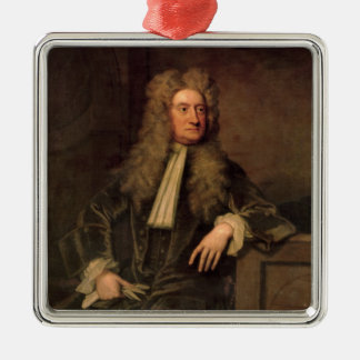 Sir Isaac Newton Silver-Colored Square Decoration