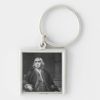 Sir John Fielding, engraved by James McArdell Silver-Colored Square Key Ring