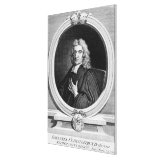 Sir John Flamsteed, engraved by George Vertue Canvas Print