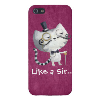 Sir Kitty Cat with Mustaches Case For iPhone 5