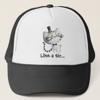 Sir Kitty Cat with Mustaches Trucker Hat