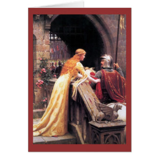 Sir Lancelot and Guinevere on the Stairs Card
