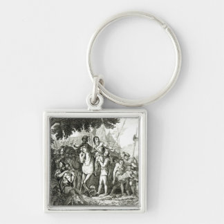 Sir Philip Sidney's Kindness to a Soldier, 1815 Silver-Colored Square Key Ring
