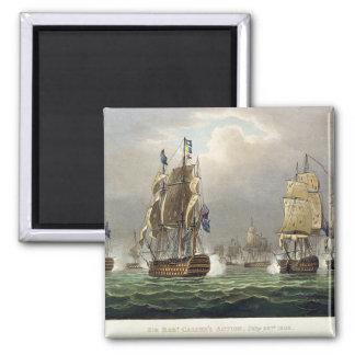Sir Robert Calder's Action, July 22nd 1805, engrav Square Magnet