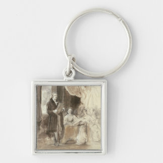 Sir Robert Peel Reading to Queen Victoria Silver-Colored Square Key Ring