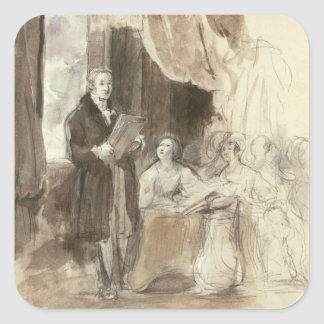 Sir Robert Peel Reading to Queen Victoria Square Sticker