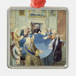 Sir Robert Walpole addressing his cabinet Silver-Colored Square Decoration
