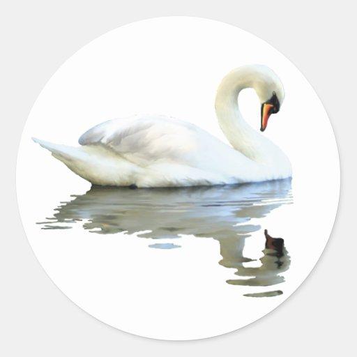 Sir Swan Round Stickers