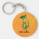 Sir T-rex with Moustaches Basic Round Button Key Ring