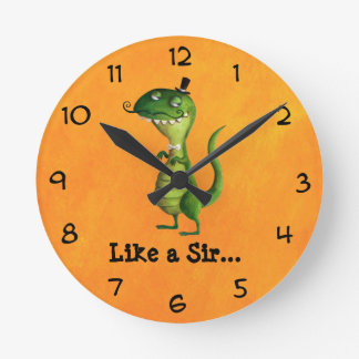 Sir T-rex with Moustaches Round Clock