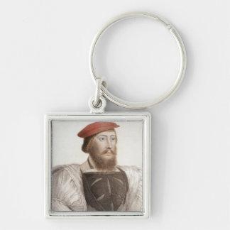 Sir Thomas Boleyn (1477-1539) engraved by Francesc Silver-Colored Square Key Ring