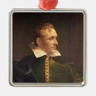 Sir Thomas Stamford Raffles Silver-Colored Square Decoration