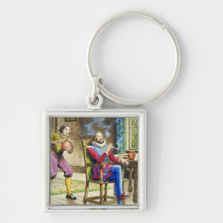 Sir Walter Raleigh (1554-1618) from 'Peeps into th Silver-Colored Square Key Ring