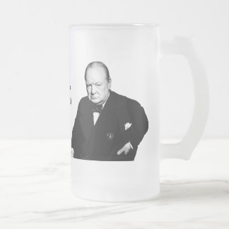 Sir Winston Churchill Frosted Glass Mug