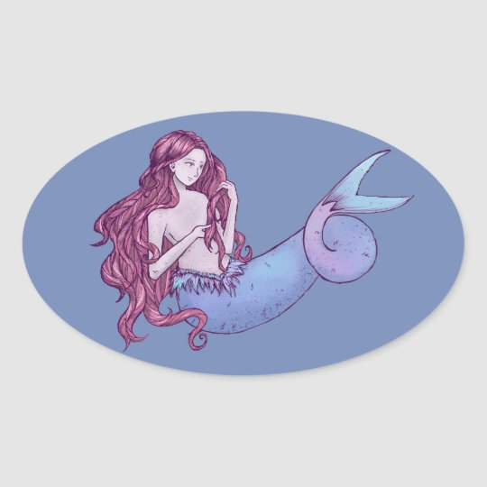 Siren, Mermaid Oval Sticker
