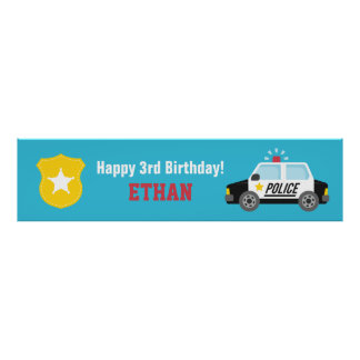 Siren Police Car Kids Birthday Party Banner Posters