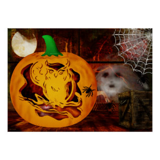 Sirens Haunted Halloween Pumpkin Carving Poster