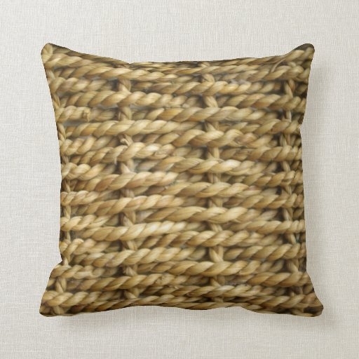 How To Make A Basket Weave Pillow : Sisal basket weave pattern throw pillow zazzle