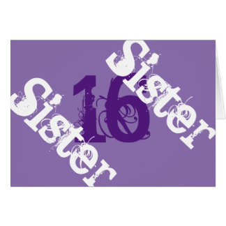 Sister, 16th birthday, white on purple. greeting card