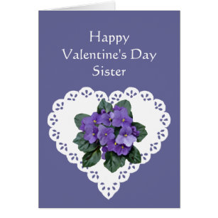 Sister valentine cards invitations zazzle sister african violet flower valentine poem card m4hsunfo Choice Image