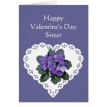 Sister African Violet Flower Valentine Poem Greeting Card