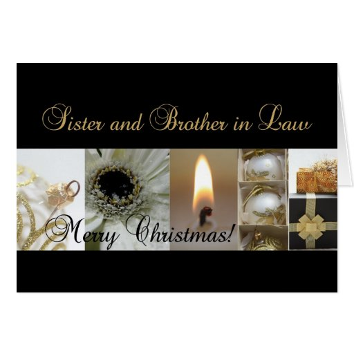 Sister and Brother in Law Christmas black & White Greeting Cards