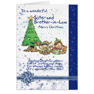 Sister And Brother-in-Law Christmas Card With Elve