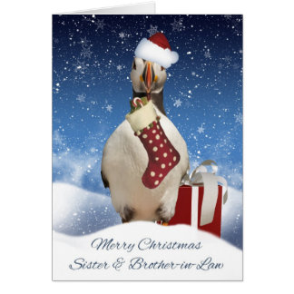 Sister And Brother-in-Law Puffin Christmas Greetin Card