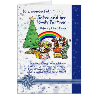 Sister And Partner Christmas Card With Elves - Les