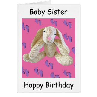 Sister baby birthday card Bunny Rabbit lovely!