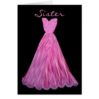 SISTER Be My  Bridesmaid MAGENTA Dress Card