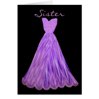 SISTER Be My  Bridesmaid PURPLE GRAPE Dress Greeting Card