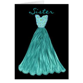 SISTER Be My  Bridesmaid RICH TEAL BLUE Dress Card