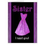 SISTER - Be My Maid of Honour - PURPLE Dress Greeting Card