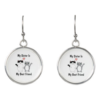 Sister Best Friend Cats Custom Earrings