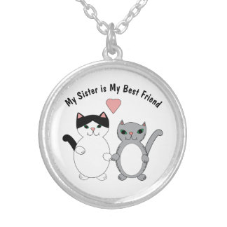 Sister Best Friend Cats Customizable Silver Plated Necklace